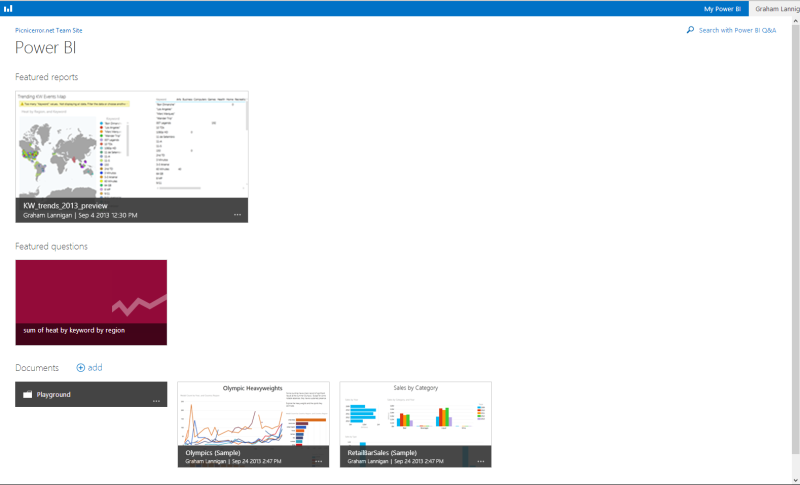 Screenshot showing an example of a Power BI site dashboard
