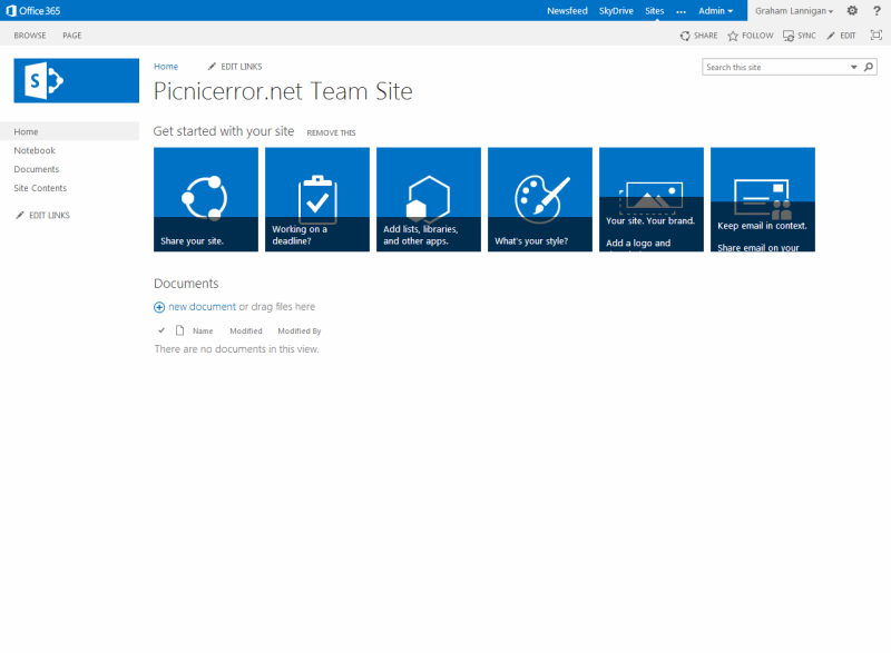 Screenshot of the Office 365 Team Site homepage