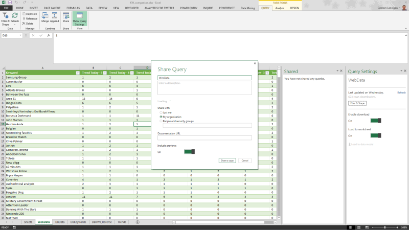 Screenshot showing a Power Query being shared in Excel