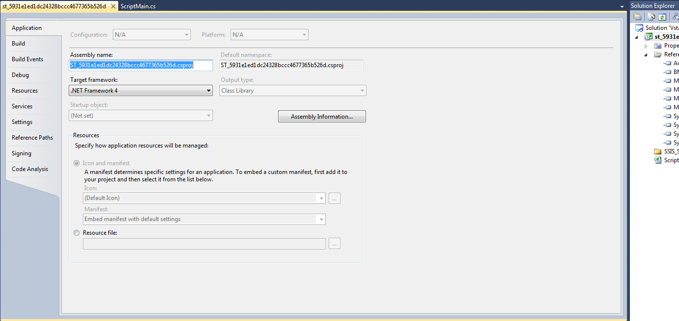 Calling external DLLs from a Script Task in SSIS 2012